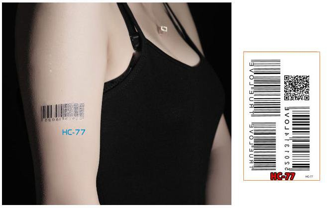 BAR CODE Waterproof Removable Temporary Tattoo Body Arm Art Sticker