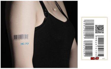 BAR CODE Waterproof Removable Temporary Tattoo Body Arm Art Sticker