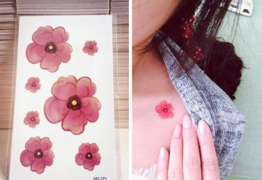 RED FLOWER Waterproof Removable Temporary Tattoo Body Arm Art Sticker