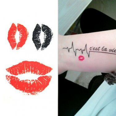 Kiss Red Lips Sexy Waterproof Removable Temporary Tattoo Body Arm Art Sticker