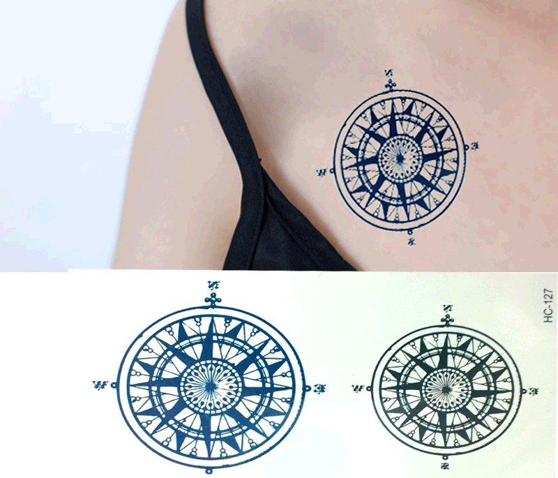 Compass Removable Temporary Tattoo Body Arm Art Sticker