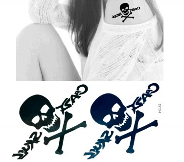 Skull 3 Temporary Tattoo Body Arm Art Sticker