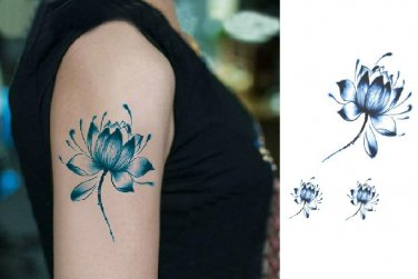 Zen Blue Lotus Sexy Temporary Tattoo Body Arm Art Sticker