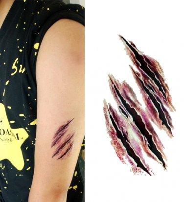 Halloween Special Effects Zombie Scratch Sexy Temporary Tattoo Body Arm Art Sticker