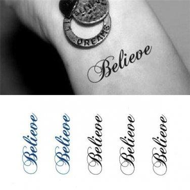 Believe Sexy Temporary Tattoo Body Arm Art Sticker