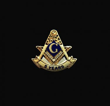Blue Lodge 5 Years Freemason Masonic Lapel Pin
