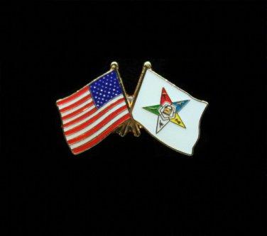 Order Eastern Star And U.S. American Flag Lapel Pin