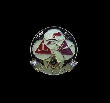 York Rite 35 Years Freemason Masonic Lapel Pin