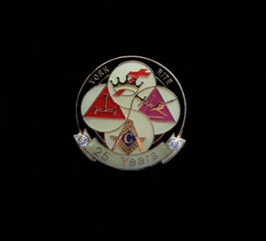 York Rite 25 Years Freemason Masonic Lapel Pin
