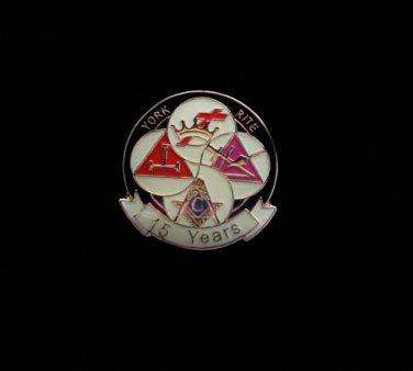 York Rite 15 Years Freemason Masonic Lapel Pin
