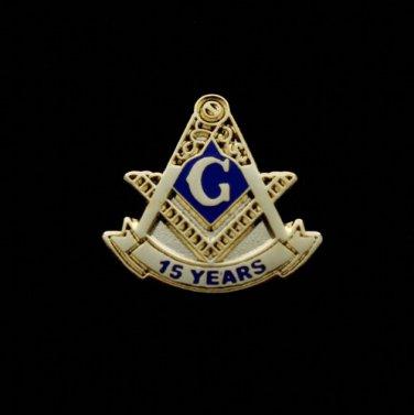Blue Lodge 15 Years Freemason Masonic Lapel Pin