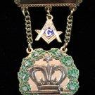 Amaranth Past Royal Patron 11 Stones & Square & Compass Masonic Jewel