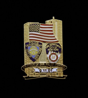 New York Police & Fire Department 9-11 9-11-01 September 11th Lapel Pin