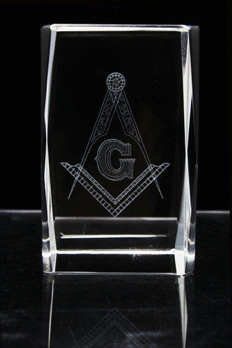 Blue Lodge Master Mason Square & Compasses Crystal Masonic Freemason