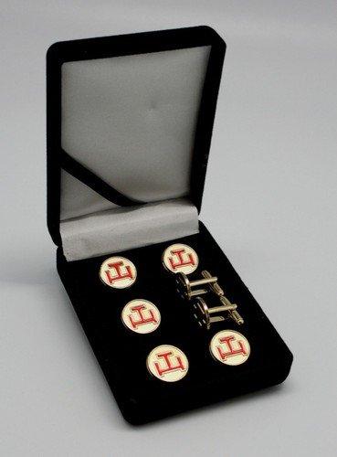 York Rite Royal Arch Triple Tau Masonic Tux Suit Button Cover Set
