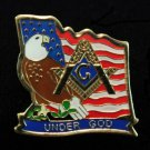 Masonic Freemason U.S. American Eagle Flag Patriotic Lapel Pin