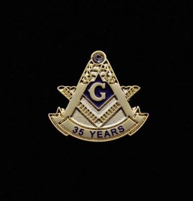 Blue Lodge 35 Years Freemason Masonic Lapel Pin