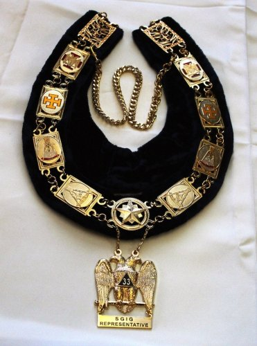 Scottish Rite S.G.I.G. Representative Masonic Freemason Collar & Jewel