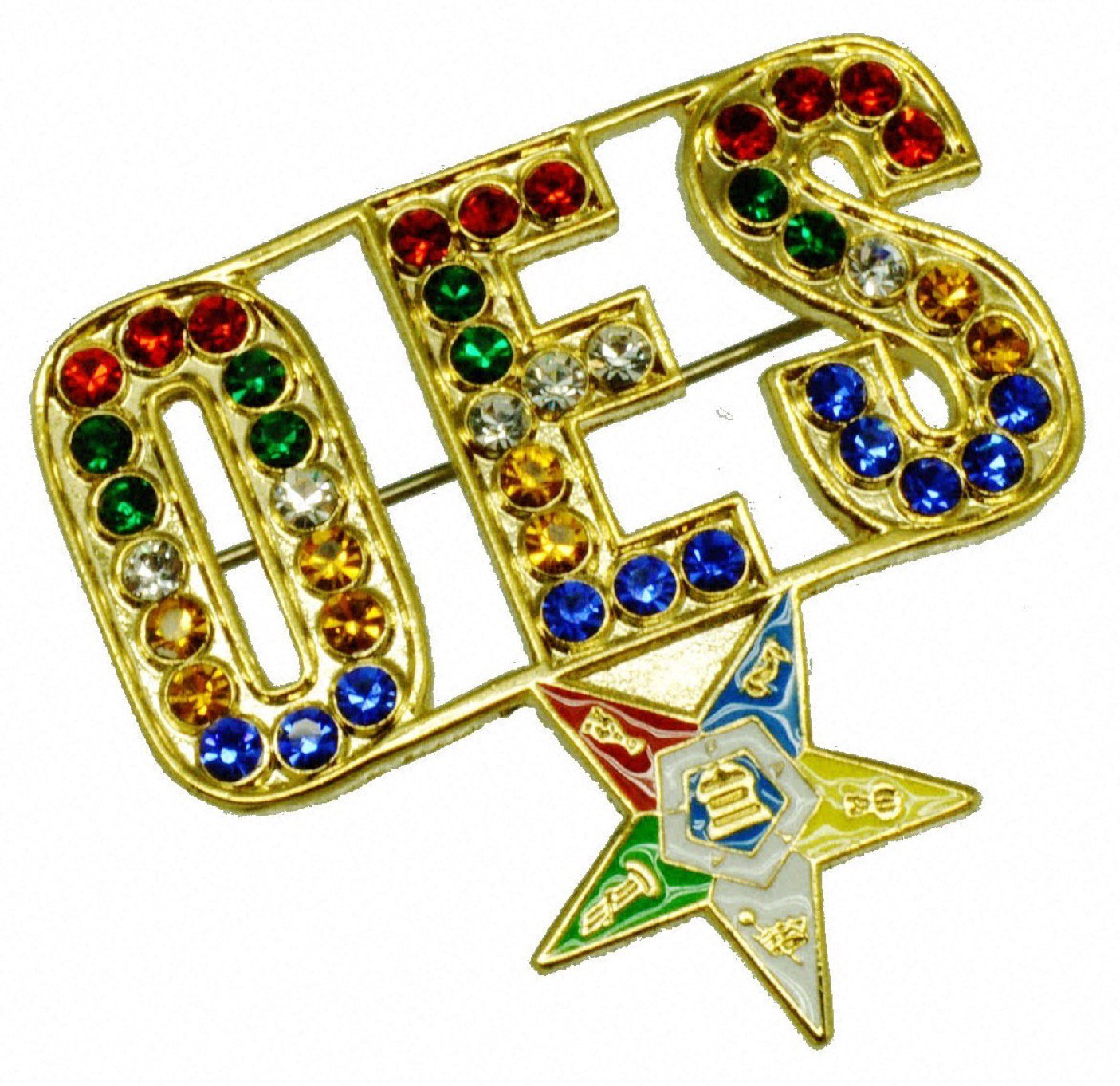 Order Eastern Star OES Jeweled Rhinestone Masonic Brooch