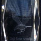 God Bless America Eagle U.S. Flag Laser Crystal