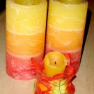 red orange yellow candle set