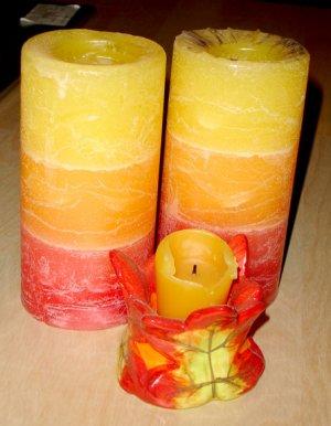 red orange yellow candle set