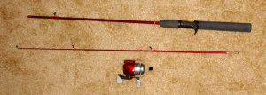 red fishing rod + tackle box