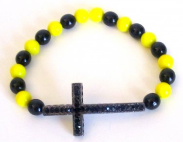 Men's Crystal Cross Bead Bracelet(Yw/Blk)