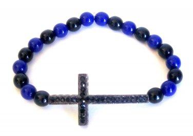 Men's Crystal Cross Bead Bracelet(Blu/Blk)