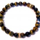 Men's Tigereye and Crystal Bracelet-Tiger Eye