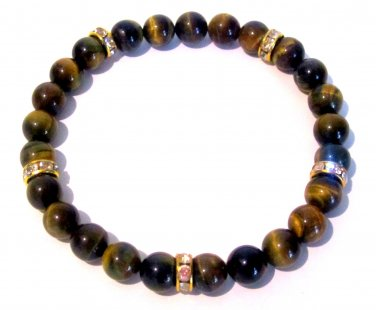 Men's Tigereye and Crystal Bracelet-Tiger Eye