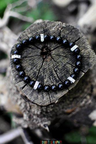 Men's Onyx and Crystal Bracelet