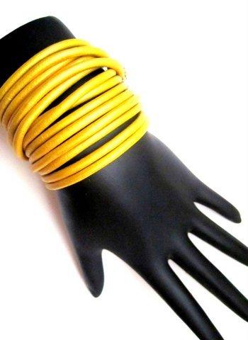 Leather Wrap Bracelet-Yellow
