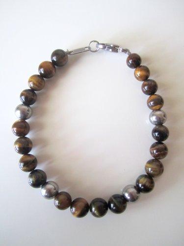 Men's Stainless Steel and Tigereye Bracelet