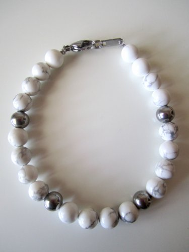 Men's Stainless Steel and White Howlite Bracelet