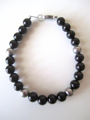 Men's Stainless Steel and Onyx Bracelet