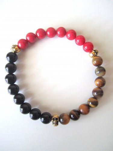 Men's Triple Threat Gemstone Bracelet-Onyx,Red Jade,Tigereye