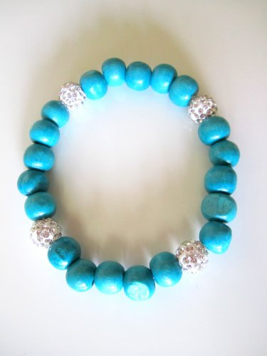 *SALE* Pave Crystal Wood Bracelet-Turquoise