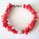 Gemstone Chips and Pave Crystals Bracelet-Red Coral