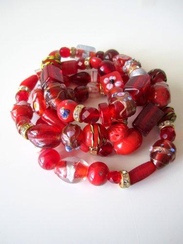 *SALE* Candy Bead Mix Bracelet-Red