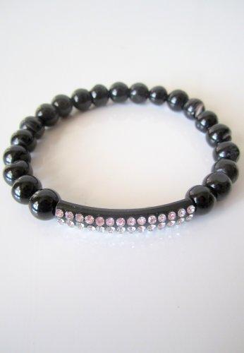 Black Agate Pave Crystal Bar Bracelet