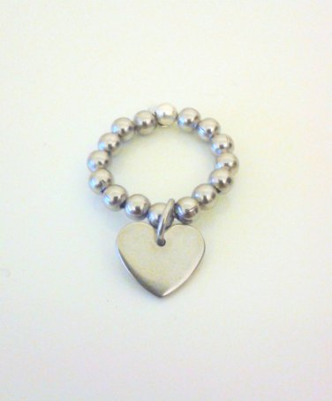Stainless Steel Heart Charm Ring