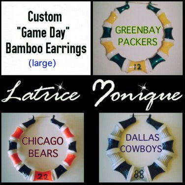 "Large ""Game Day"" Sport Team Bamboo Earrings"
