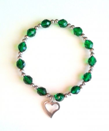*SALE* Green Faceted Glass Stainless Steel Heart Charm Bracelet