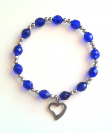 *SALE* Blue Faceted Glass Stainless Steel Heart Charm Bracelet