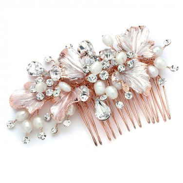 Rose Gold Leaves Bridal Hair Comb