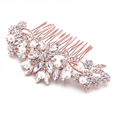 Sunburst Rose Gold Hair Comb with Pearls