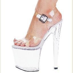 "821-BROOK, 8"" Heel Stripper Sandal in Clear/Clear Size 7 (US)"