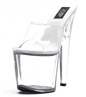 "821-VANITY, 8"" Stiletto Heel Stripper Mule in Clear/Clear Size 10 US)"