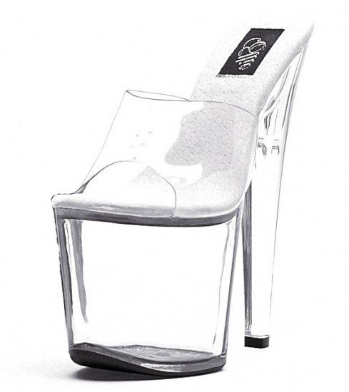 """821-VANITY, 8"""" Stiletto Heel Stripper Mule in Clear/Clear Size 12 US)"""